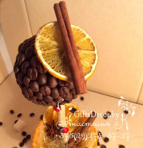 Кофейный топиарий Апельсинка