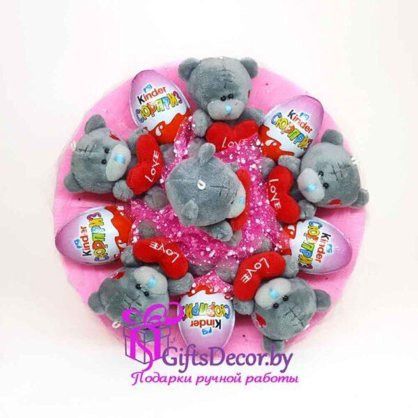 Букет из мишек Teddy и Kinder Сюрприз