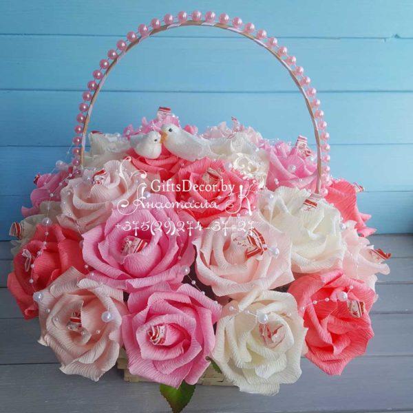 Svadebnaya-korzina-roz-s_konfetami