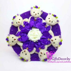 Букет из 7-ми  фиолетовых мишек