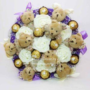 Букет из 9 мишек с Ferrero Rocher фиолетовый