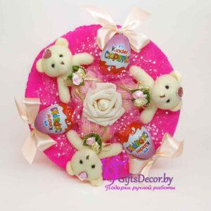 Букет из 3 розовых мишек с Raffaello
